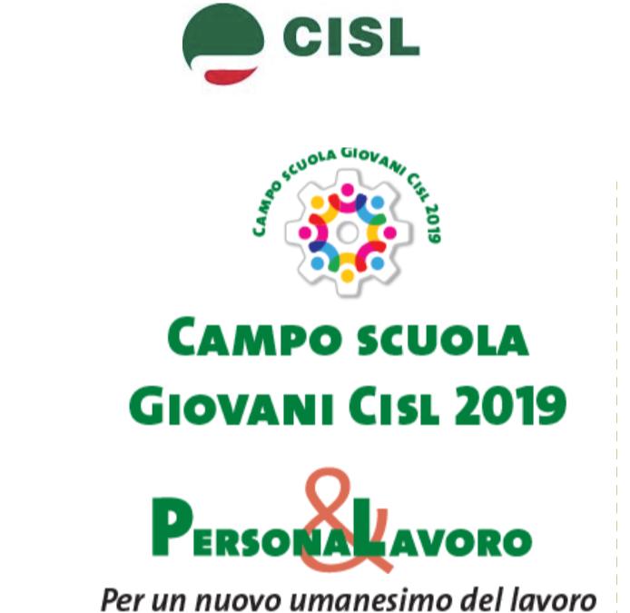 Campo scuola giovani Cisl 2019 programma 23-27 Settembre
