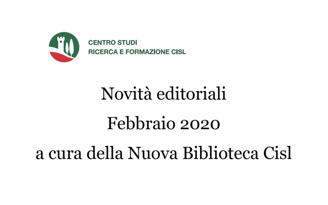 Novità editoriali Febbraio 2020 a cura della Nuova Biblioteca Cisl – Riviste