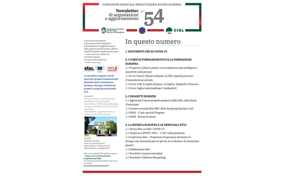 Newsletter Formazione Progettazione Ricerca Europea N°54