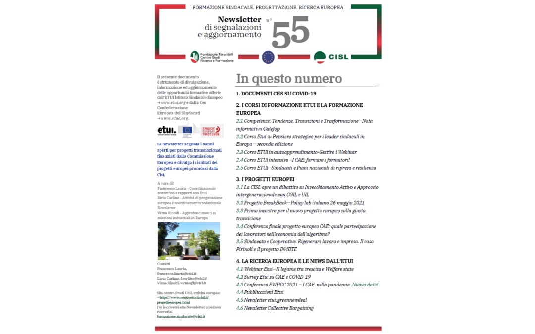 Newsletter Formazione Progettazione Ricerca Europea N°55